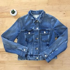 Madewell cropped denim jacket, size small